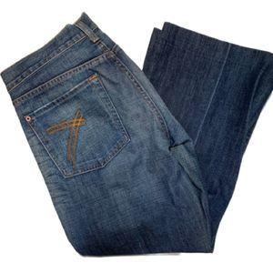 7 for all mankind dojo wide leg crop blue jeans
